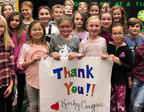 Kerby Students With Thanks Sign