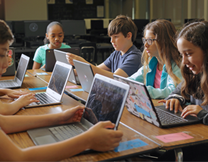 photo of children learning online