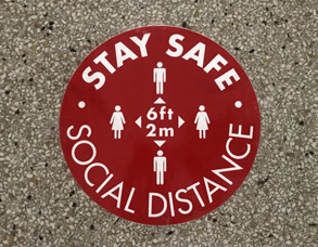 social distance sticker - stay safe 6 feet reminder
