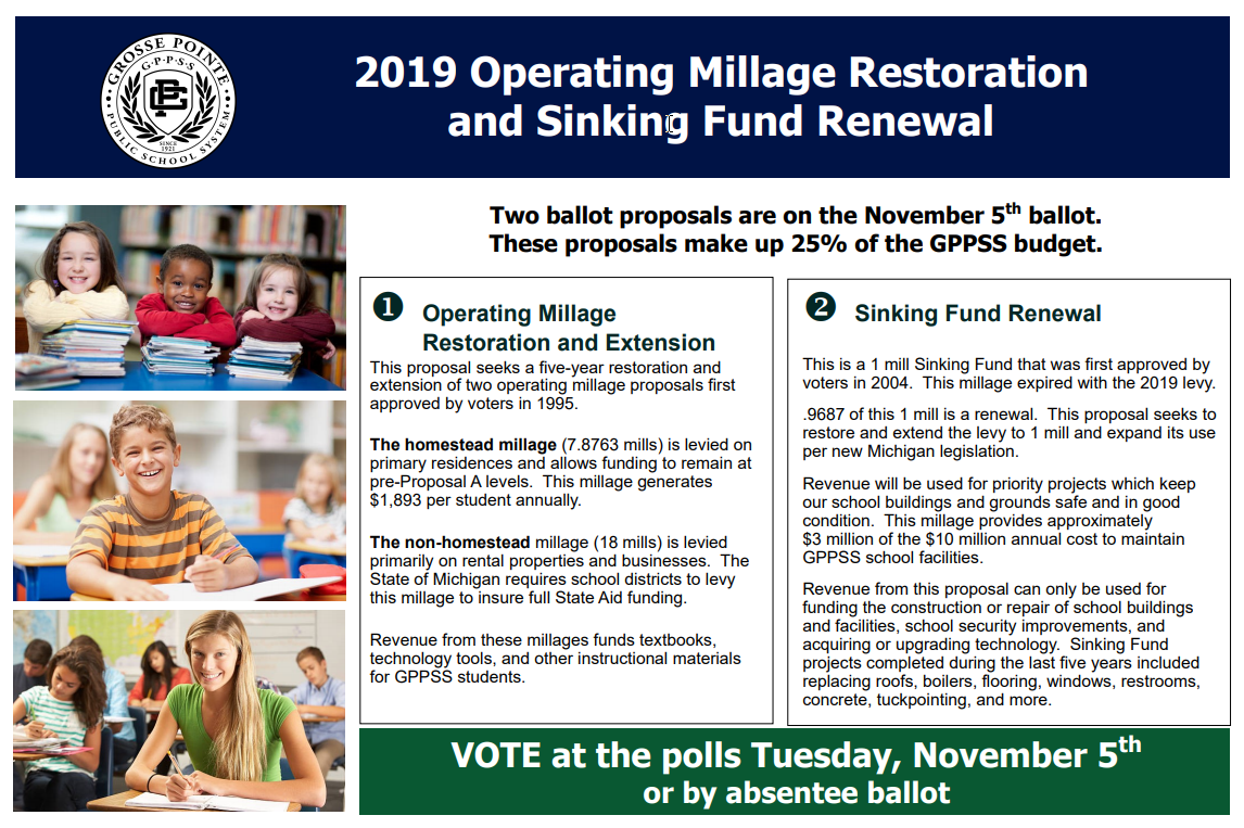 November 2019 Operating Millage and Sinking Fund Info Board
